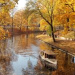 river park boat autumn