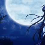 Anime cartoon night scene moon desktop wallpaper