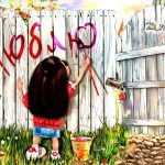 Girl, fence, paint, love