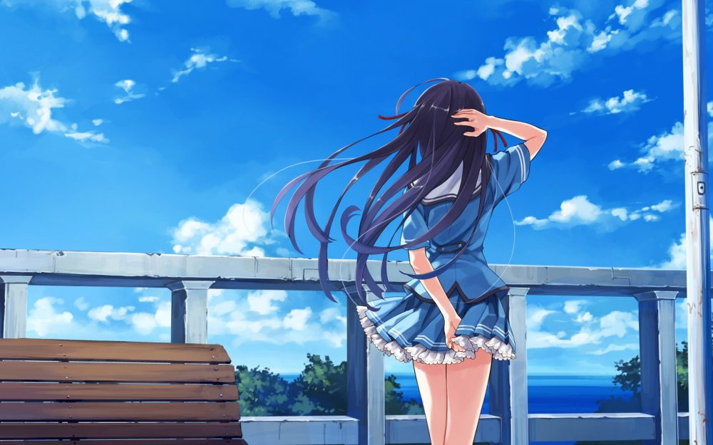Anime girl back view wallpaper watching the scenery