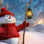 Christmas snowman lamp wallpaper