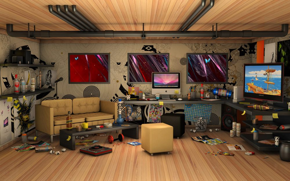 3d computer desktop wallpaper HD designer room computer desktop