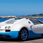 Bugatti Veyron, blue and white, seaside scenery, wallpaper