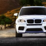 BMW, X5M, white, tuning, wheels, front car photos, scenery, BMW wallpaper