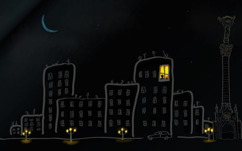 City, house, windows, street, car, one moon, personalized desktop wallpaper