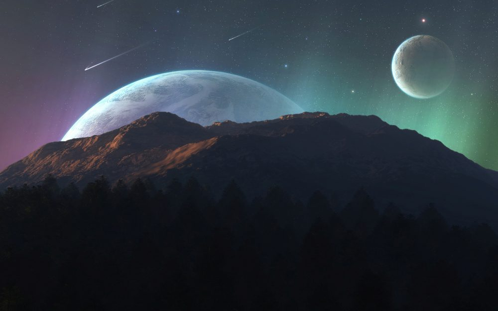 Mountains, planets, sky