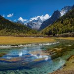 Forest, mountains, river, sky, clouds