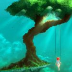 Big tree swing girl anime landscape desktop wallpaper