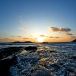 Sunset, landscape, sky, photo, sea. evening, waves, sea foam