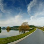 Landscape, river, sky, forest, autumn, trees, road