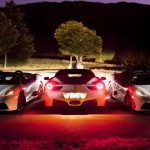 Ferrari F430, white Ferrari, front, Ferrari 458 Italia, followed by night, wallpaper
