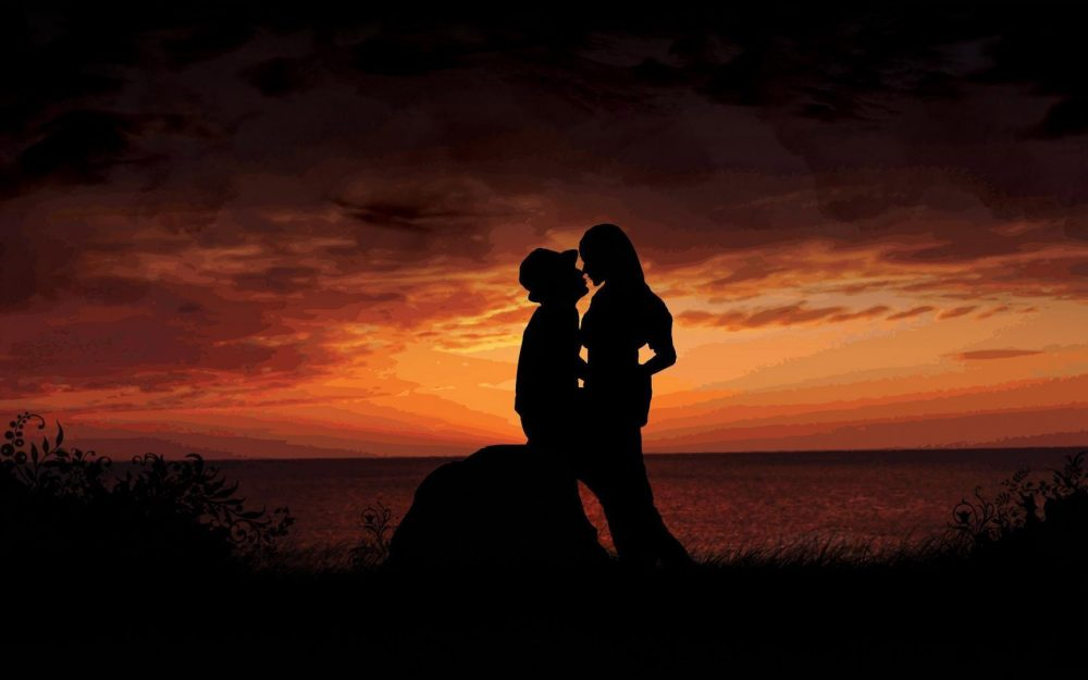 Seaside evening romantic love wallpaper
