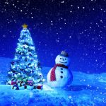 New Year, Christmas, Christmas trees, snow, snowman, winter, night pictures, wallpaper