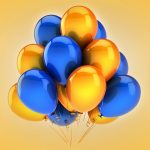balloons, yellow, holiday, celebration, blue, balloons