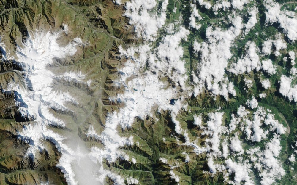earth, planet, mountains, surface, clouds