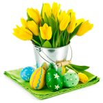 Easter, tulips, yellow tulips, bouquet, eggs, flowers