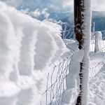 Snow, lattice, fencing, poles