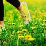 The sneakers in the grass