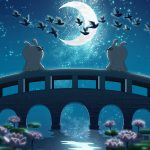 Cold rabbit Tanabata Magpie Bridge Tanabata Magpie Lotus Moon Night wallpaper