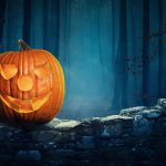 2015 Halloween pumpkin, forest, night, Halloween wallpaper
