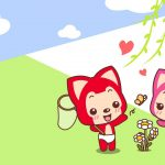 Spring play the latest raccoon cartoon wallpaper