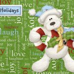 happy, Holidays, lettering, bear, everyone