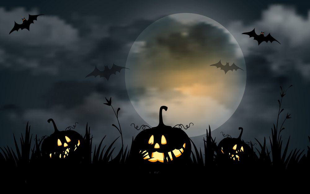 Evil pumpkins, creepy, bats, scary, full moon, halloween, scary