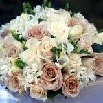 Bouquet, roses, composition, freesia, flowers