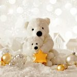Christmas decorations, teddy bear, winter, snow, cute Christmas wallpaper