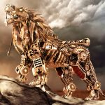 The robot, the lion, sky, mechanism