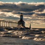 storm, waves, lighthouse