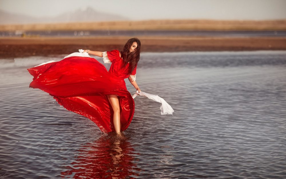 mood, red dress, Water, Alyona Yakovleva