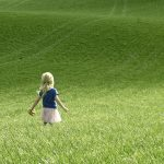 Cute little girl bucolic wallpaper