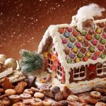 rustic, sweets, pastries, powder, sponge, house, gingerbread, snow, magic, christmas