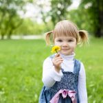 park, Little girl, children, flower, trees, childhood, child, happiness