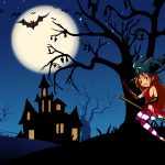 Halloween night Cartoon Desktop Wallpaper