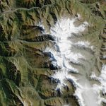 mountains, white, green, tops, land, surface, planet, earth