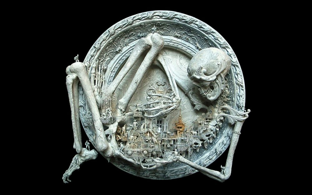 Engraving, remains, skeleton