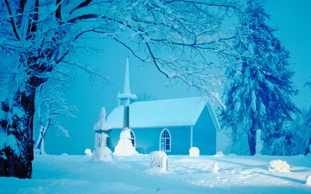 Winter Snow Wallpaper HD countryside church
