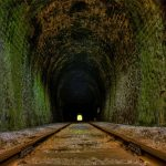 Old rail train tunnel aesthetic mood wallpaper