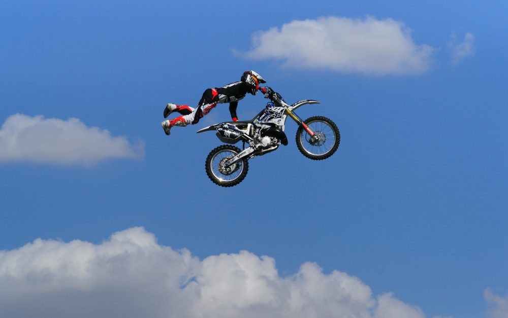 Clouds, man, motorcycle, jumping, motocross