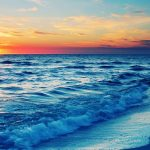 Beautiful beach sunset scenery HD Wallpaper
