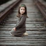 Train tracks cute little girl aesthetic mood wallpaper