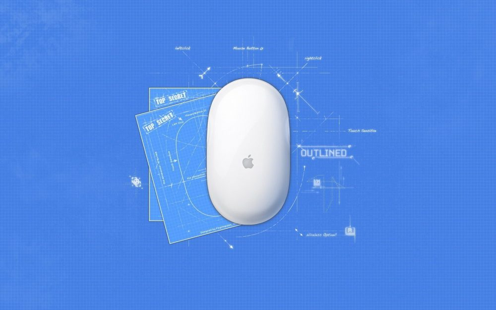 white, apple, blue, mouse