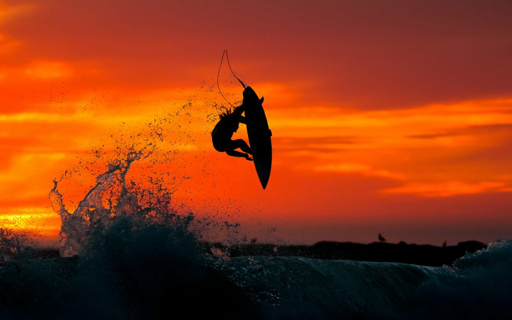 Surfing, jump, water, Sunset