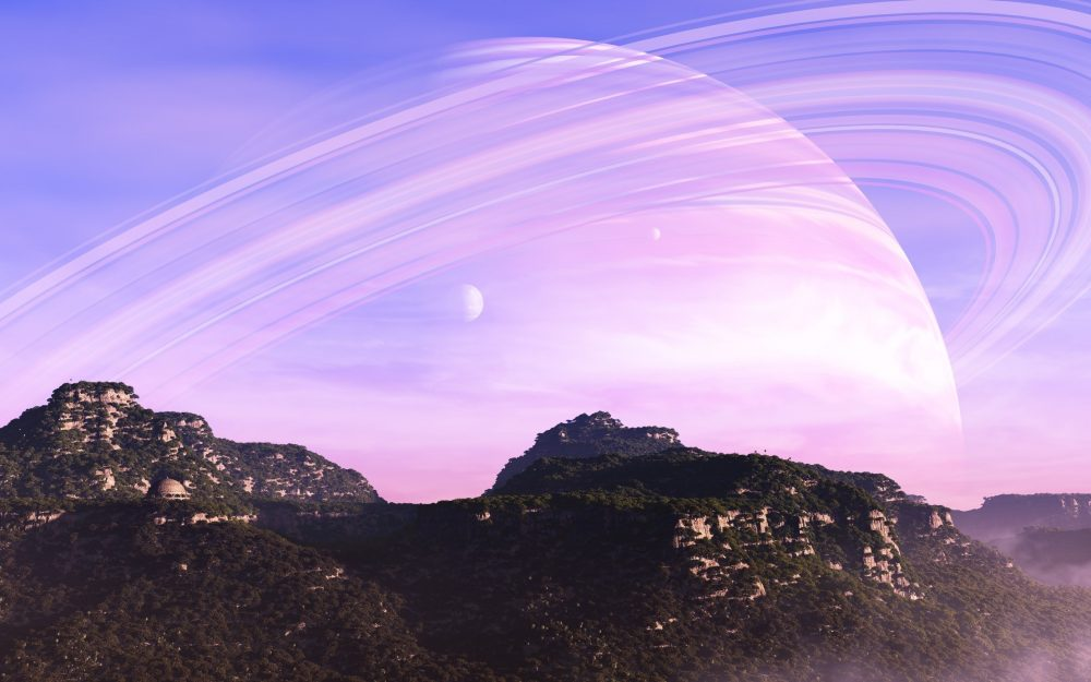 Forest canopy, planet, rings, trees, buildings, mountains