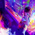 City. lights, girl, phone, style
