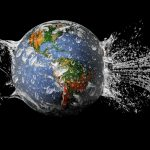 Earth, water spray wallpaper