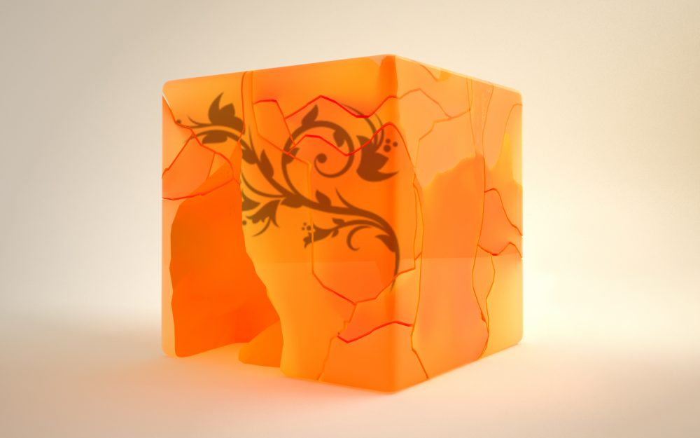 Cubic, cube, chopped, orange