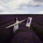 brush, painting, lavender